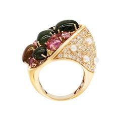 Pearl Diamond Yellow Sapphire Precious Tourmaline Incruster 18k Gold Scarab Ring