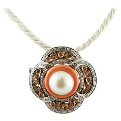 Pearl, Diamonds, Coral, 14 Karat White and Rose Gold Retro Brooch or Pendant