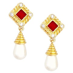 Pearl Drop Earrings With Ruby Red Crystals By Swarovski, 1980s