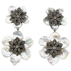 Pearl Earrings with Diamonds 3.22 Carat