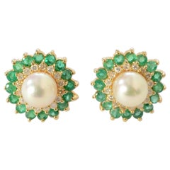 Pearl, Emerald and Diamond Earrings