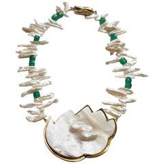 Pearl Emerald Bronze Necklace