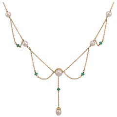 Gold Pearl Emerald Evening Dress Necklace Circa 1970s
