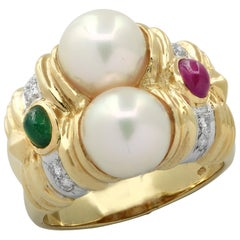 Pearl, Emerald, Ruby and Diamond Ring