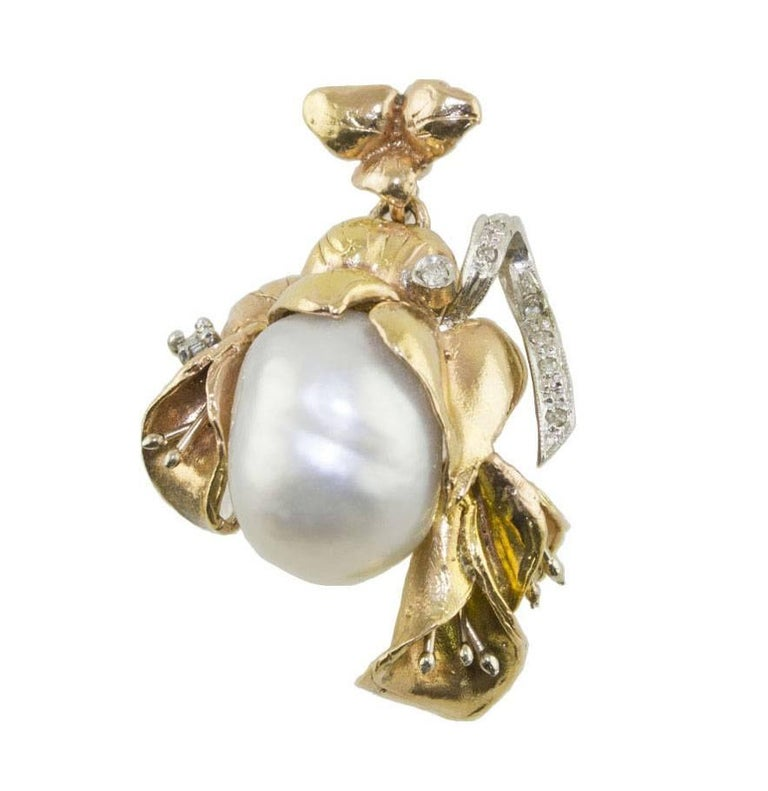 Pearl Face and Rose Gold Diamond Pendant