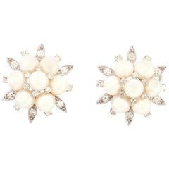 1.50 Carat Diamond and Pearls Earrings
