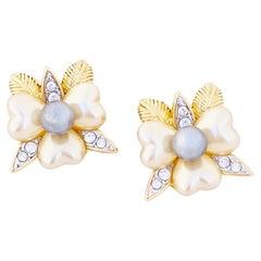 Pearl Flower Figural Earrings By Nolan Miller, 1980s