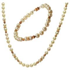 Pearl Gold Necklace Bracelet Suite