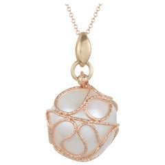 Pearl Gold Wrap Around Chain Pendant Necklace in 14 Karat Two-Tone Yellow Rose