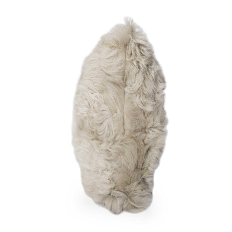 Modern Pearl Grey Fur and Silk Lined Pillow, Real Toscana Sheep Fur, JG Switzer For Sale
