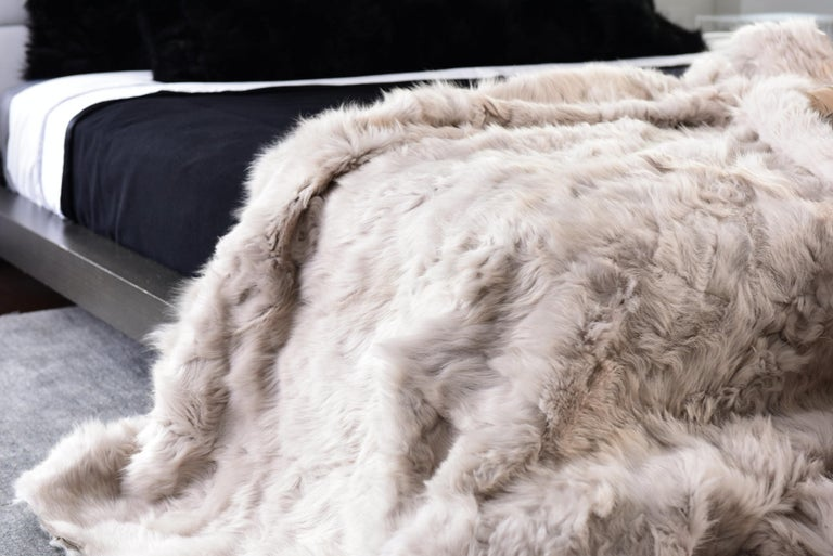 American Pearl Grey Fur and Silk Lined Pillow, Real Toscana Sheep Fur, JG Switzer For Sale