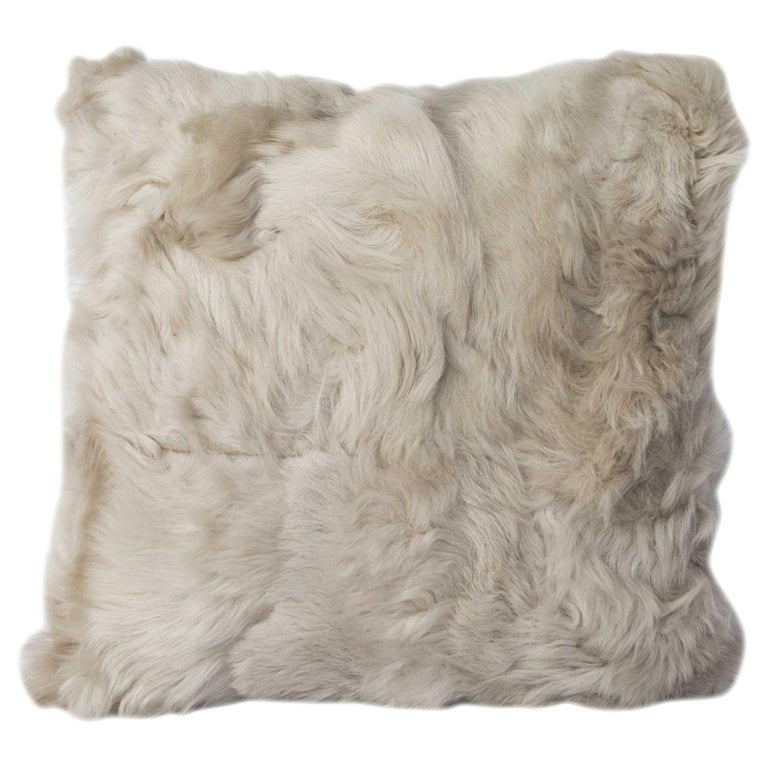 Pearl Grey Fur and Silk Lined Pillow, Real Toscana Sheep Fur, JG Switzer For Sale