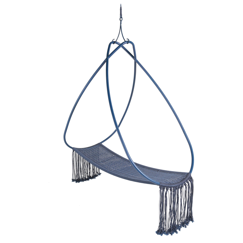 Pearl Hanging Swing Chair Aluminium Naval Rope 21st Century Blue