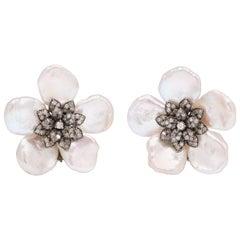 Pearl Leaf and Diamond Flower Earring
