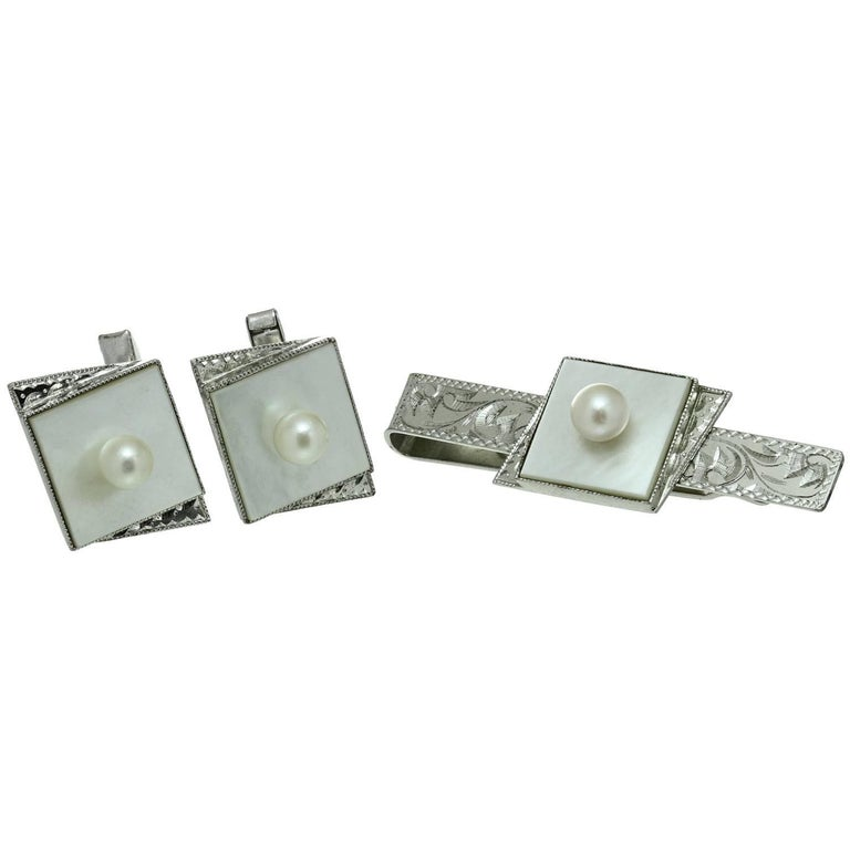 Pearl Mother-of-Pearl Sterling Silver Cufflinks and Tie Clip Set