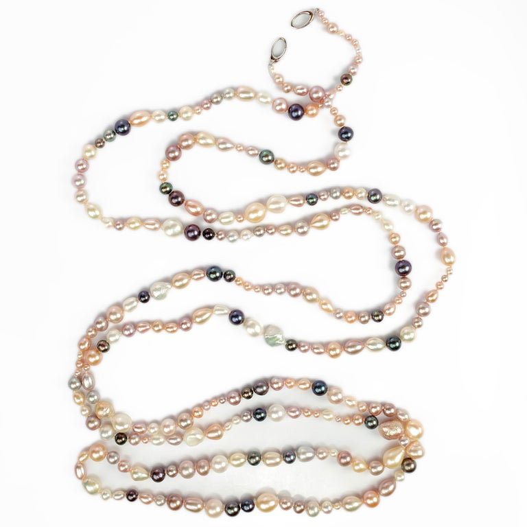 Artisan Pearl Necklace Strand Cultured Multi-Color Chinese Freshwater For Sale