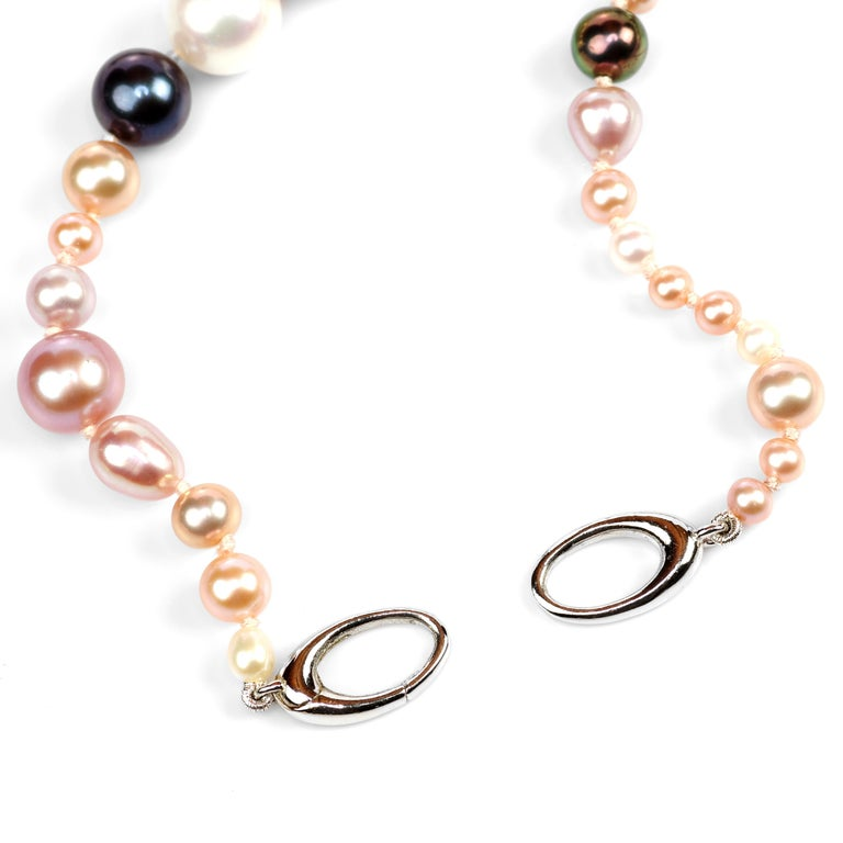 Pearl Necklace Strand Cultured Multi-Color Chinese Freshwater In New Condition For Sale In Southbury, CT