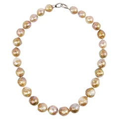 Pearl Necklace Cultured Baroque Chinese Freshwater Pearls With Metallic Luster