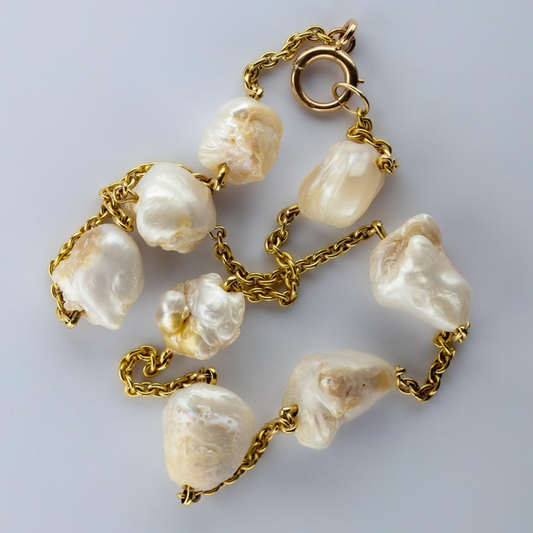 Pearl Necklace of Rare Oversized Mississippi River Pearls For Sale 8