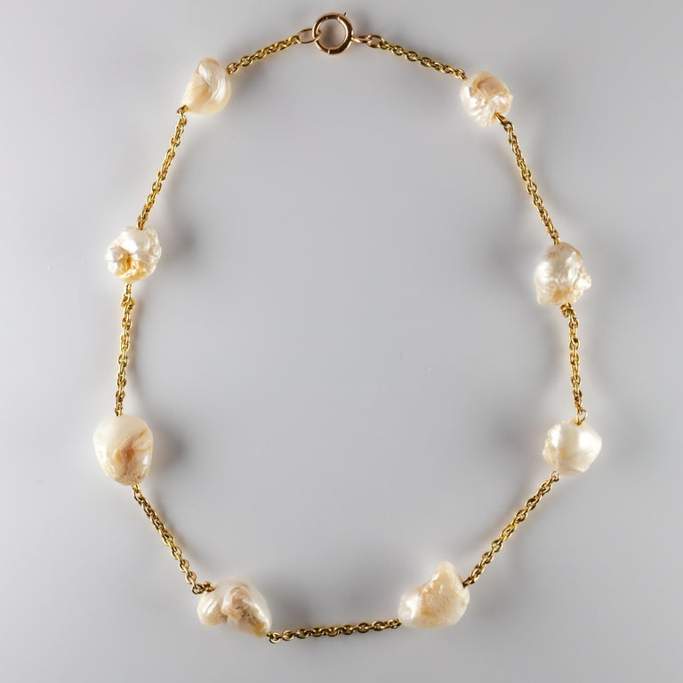 Pearl Necklace of Rare Oversized Mississippi River Pearls For Sale 9