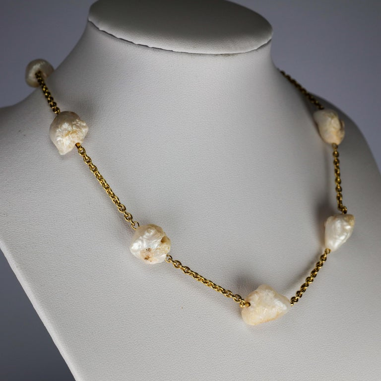 Victorian Pearl Necklace of Rare Oversized Mississippi River Pearls For Sale