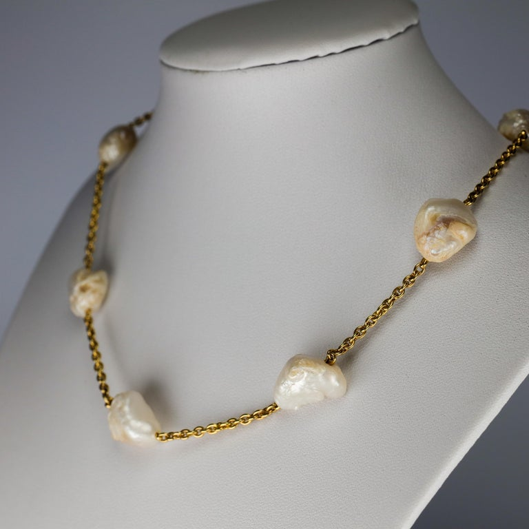 Pearl Necklace of Rare Oversized Mississippi River Pearls In Excellent Condition For Sale In Southbury, CT