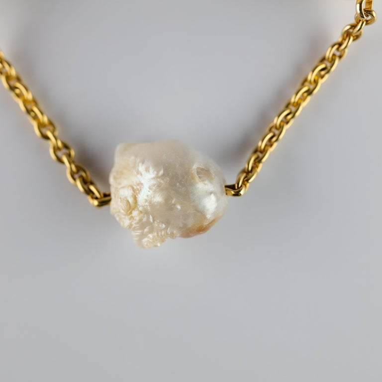 Women's Pearl Necklace of Rare Oversized Mississippi River Pearls For Sale