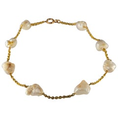 Pearl Necklace of Rare Oversized Mississippi River Pearls