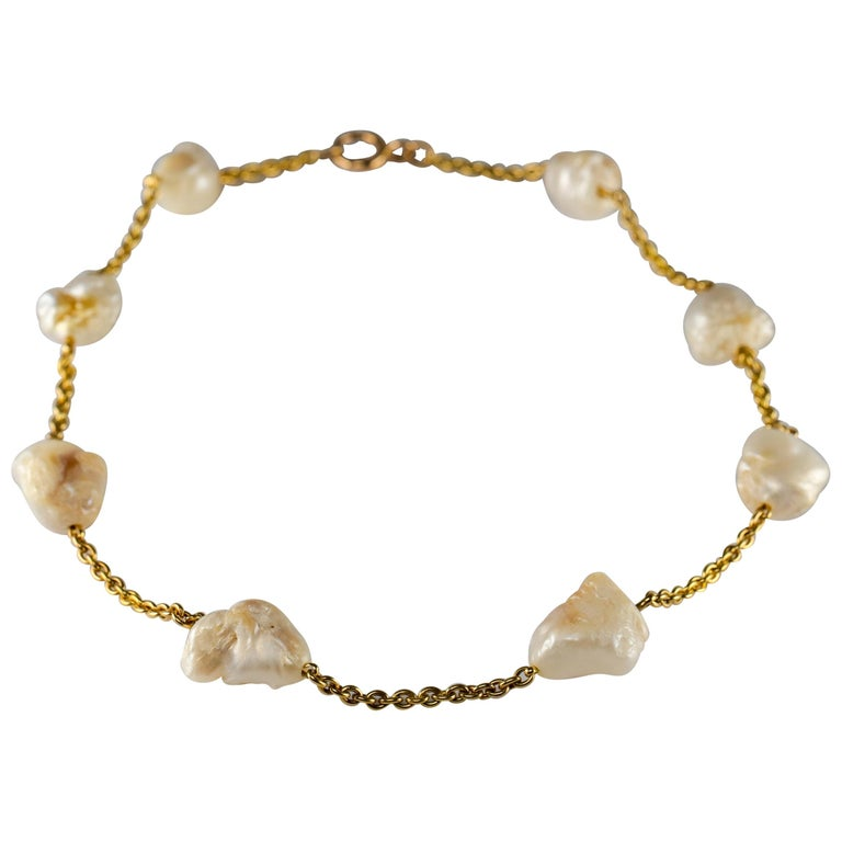 Pearl Necklace of Rare Oversized Mississippi River Pearls For Sale