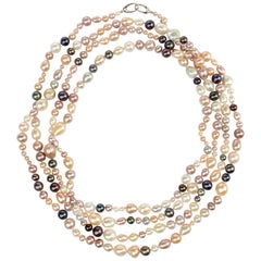 Pearl Necklace Strand Cultured Multi-Color Chinese Freshwater
