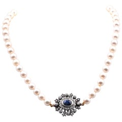 Pearl Necklace w/ Sterling Silver Gold Backed Victorian Sapphire & Diamond Clasp
