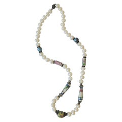 Pearl Necklace with Ceramic and Sterling Silver Beads