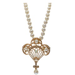 Pearl Necklace with Fancy Antique Style 14K Gold, Opal & Pearl Pendant Brooch