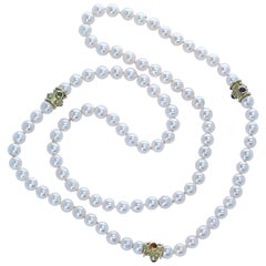 Pearl Necklace with Gold and Peridot, Citrine, and Amethyst Cabochons