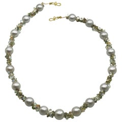 Pearl Necklace with Grey Pearls, Faceted Gemstone Beads in 18k Diana Kim England