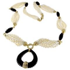 Pearl Onyx 18 Karat Yellow Gold Diamonds Bead Necklace