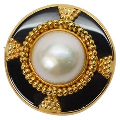 Pearl and Onyx Yellow Gold Emblem Brooch