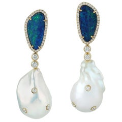Pearl Opal 18 Karat Gold Diamond Earrings