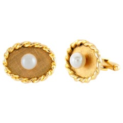 Pearl Oval Gold Cufflinks