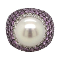 Pearl, Pink Sapphire, and Diamond Ring 18 Karat White Gold