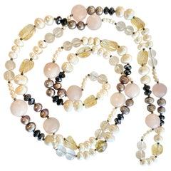 Pearl, Quartz, Citrine, Rose Quartz, and Black Zircon Large Bead