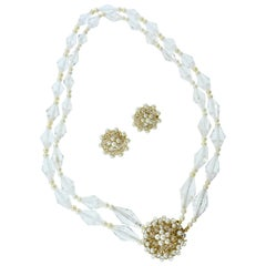 Pearl, Rock Crystal and Yellow Gold Necklace and Earring Set