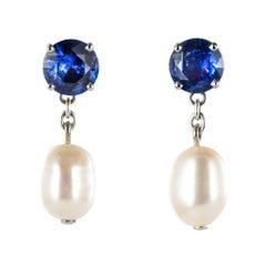 Pearl Royal Blue Sapphire Gold Drop Earrings