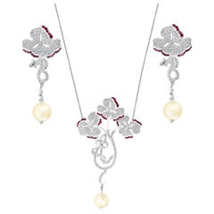 Pearl Ruby and Diamond Necklace and Earrings 18 Karat White Gold, Suite, Estate
