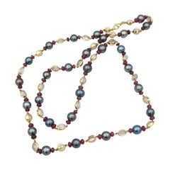 Pearl Ruby and Moonstone Cabochon Gold Long Strand Necklace