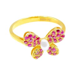Pearl Ruby Butterfly Ring in 14 Karat Yellow Gold