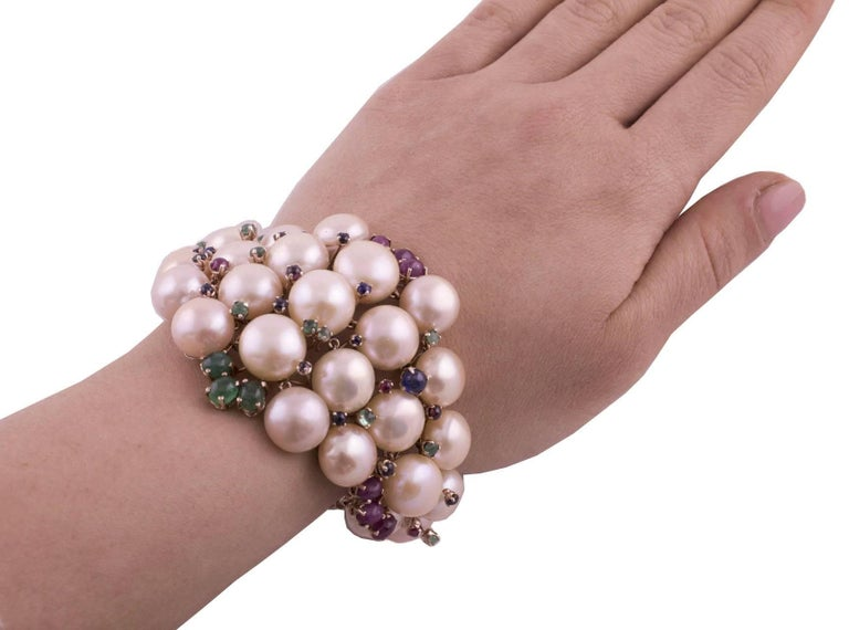 Pearl Ruby Emerald Sapphire Diamond Rose Gold and Silver Bracelet For Sale 4
