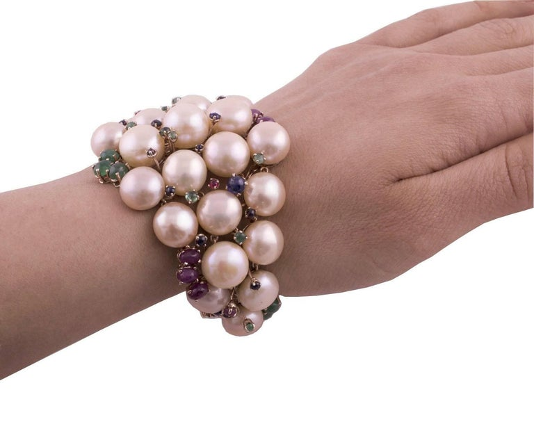 Pearl Ruby Emerald Sapphire Diamond Rose Gold and Silver Bracelet For Sale 5