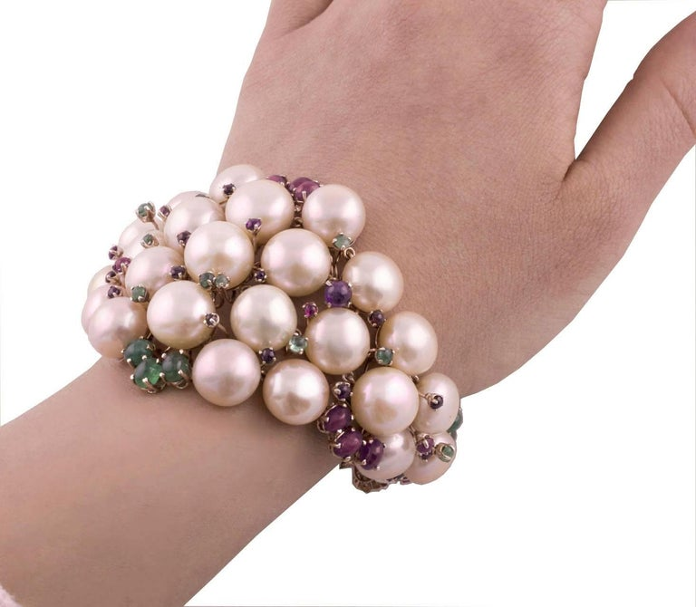 Pearl Ruby Emerald Sapphire Diamond Rose Gold and Silver Bracelet For Sale 6