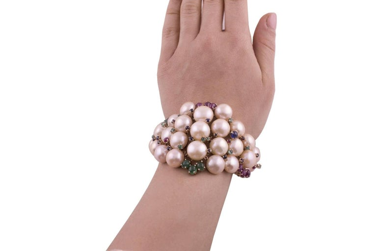 Pearl Ruby Emerald Sapphire Diamond Rose Gold and Silver Bracelet For Sale 3